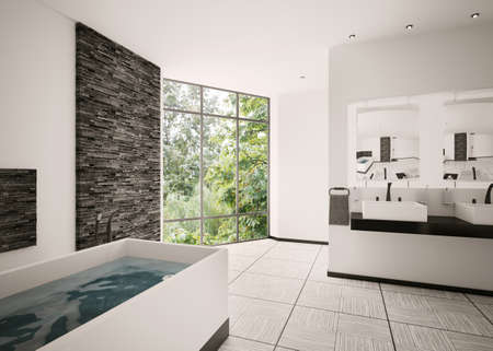 black bathroom: Interior of modern bathroom 3d render