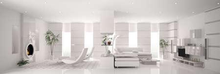 Int?rieur de blanc et moderne appartement panorama 3d render Banque d'images