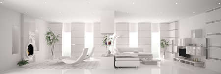 Inter of modern white apartment panorama 3d render Stock Photo - 8376343