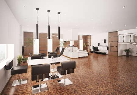 Interior of modern apartment living room 3d render Stock Photo - 8376344