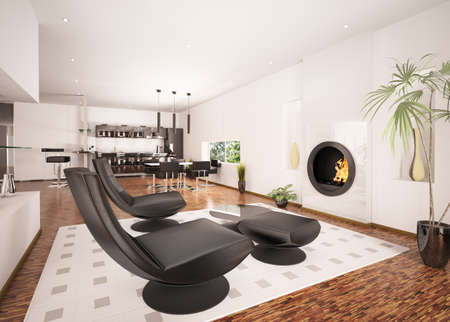 Interior of modern apartment living room kitchen 3d render