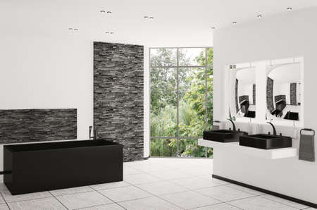 floor lamp: Interior of modern bathroom with black bath and sinks 3d render Stock Photo