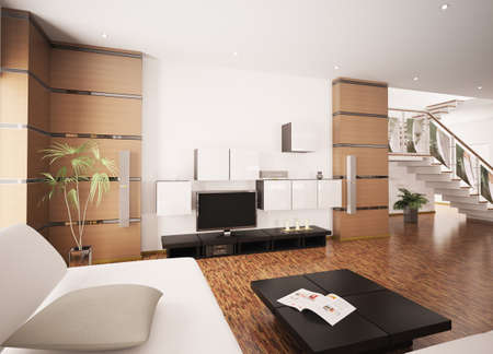 Modern living room with LCD interior 3d render photo