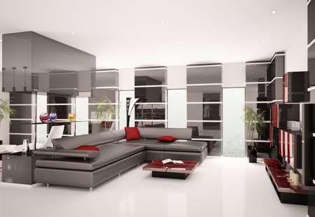 Modern living room with black leather sofa interior 3d render