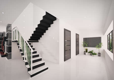 Interior of modern entrance hall with staircase 3d render Stock Photo