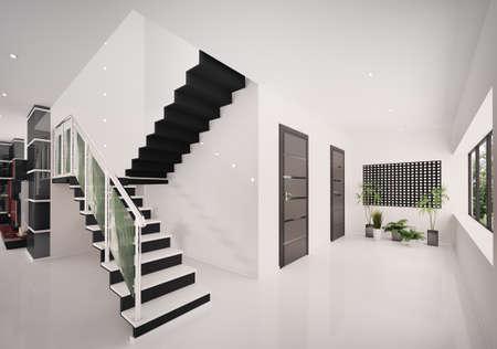 schody: WnÄ™trze nowoczesnych kruchta z klatka schodowa renderowania 3d Zdjęcie Seryjne