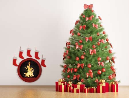 Christmas fir tree in the room with fireplace interior 3d render photo