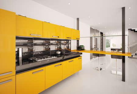 Interior of modern orange kitchen 3d render Stock Photo - 8407655