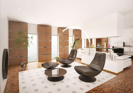 Interior of modern apartment living room 3d render Zdjęcie Seryjne