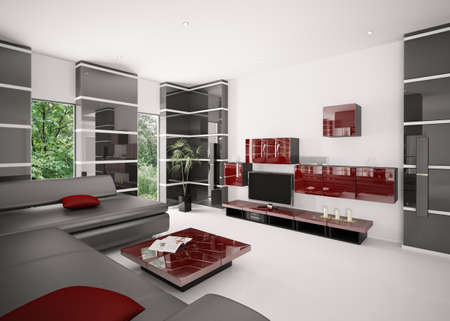 Modern living room with black sofa red table and LCD interior 3d render