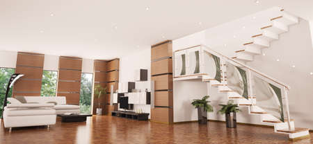 Modern apartment with staircase interior panorama 3d render Stock Photo - 8407669