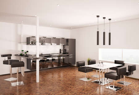 Interior of modern black kitchen 3d render photo