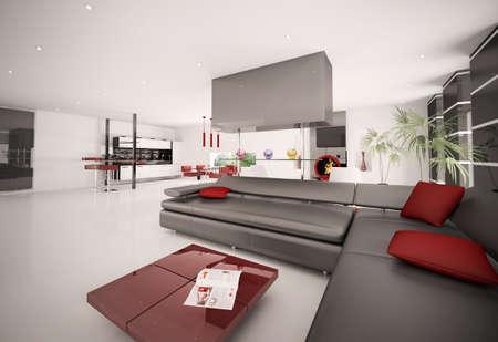Interior of modern apartment living room kitchen 3d render