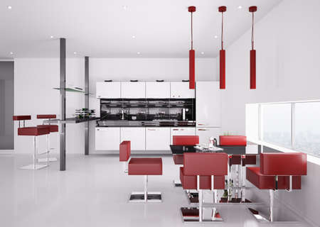 stainless steel kitchen: Interior of modern white kitchen with red chairs 3d render