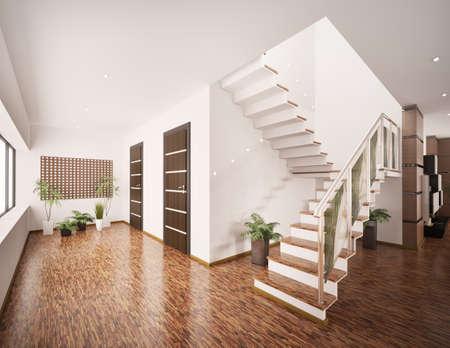 Interior del vestíbulo moderno con procesamiento 3d de escalera