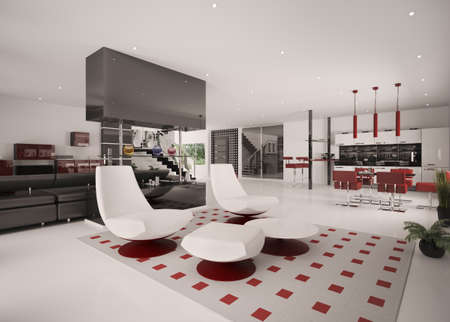 Interior of modern apartment living room kitchen hall 3d render photo