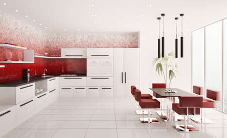 Interior of modern white kitchen with red gradient mosaic walls 3d render