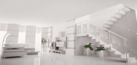 White modern apartment with staircase interior panorama 3d render photo