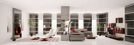 Interior of modern apartment panorama 3d render photo