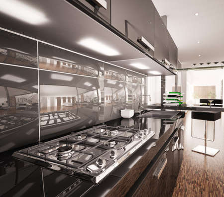Interior of modern black kitchen with gas cooker 3d render photo