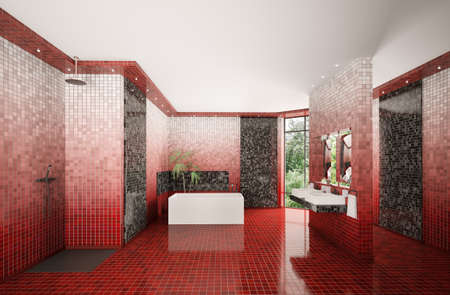 Modern bathroom with red gradient mosaic walls interior 3d render Stock Photo - 8468843