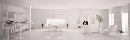 Int�rieur de la vie en appartement moderne, cuisine, salle blanche Panorama 3D rendent