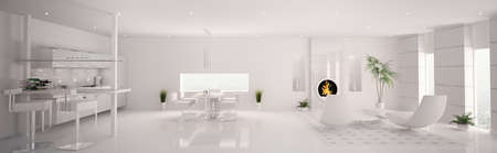 Interior of modern white apartment living room kitchen panorama 3d render photo