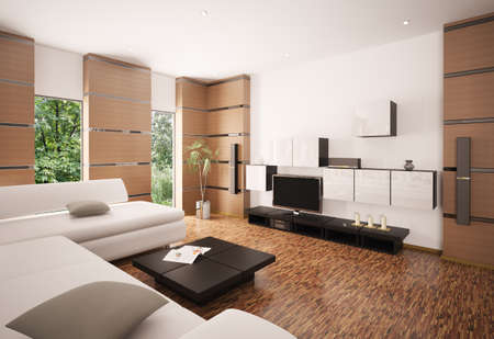 Modern living room with white sofa black table and LCD interior 3d render
