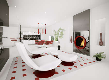 Interior of modern apartment living room kitchen 3d render photo
