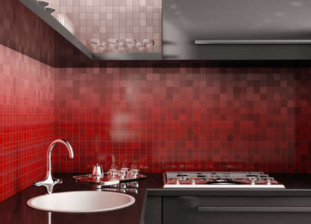 Modern black kitchen over the red gradient mosaic walls 3d render photo