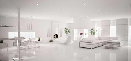 Interior of modern white apartment living dining room panorama 3d render