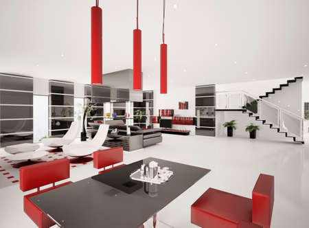 Interior of modern apartment living room dining area 3d render