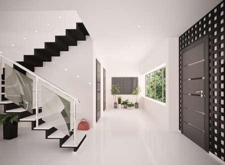 Int�rieur du hall d'entr�e avec escalier moderne, rendu 3d