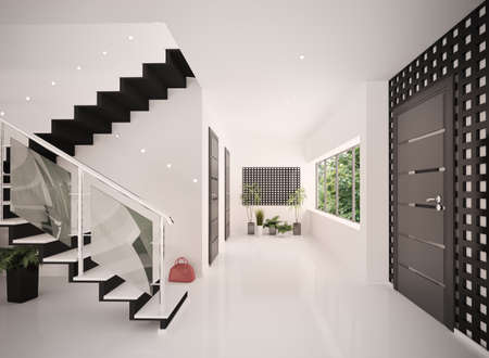 Interior of modern entrance hall with staircase 3d render Stock Photo - 8479633