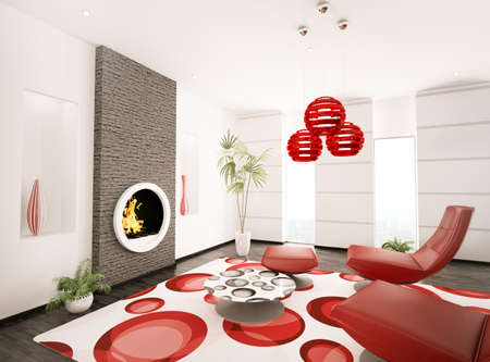 Modern interior of living room with fireplace 3d render Stock Photo - 8535290