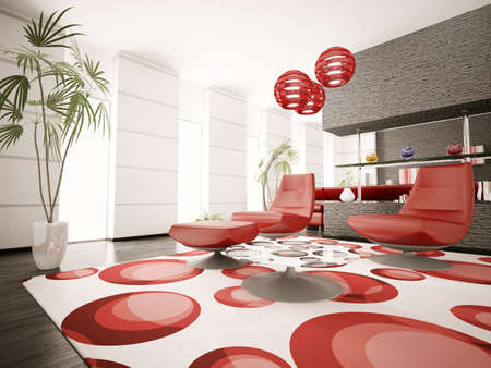 Modern interior of living room with red armchairs 3d render photo