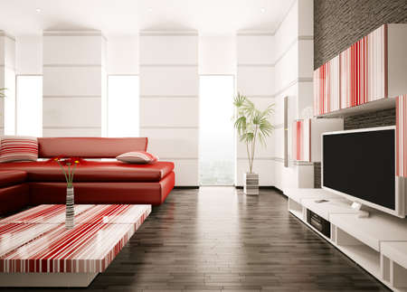 Modern living room with red sofa and LCD interior 3d render photo