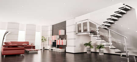 Modern apartment with staircase interior panorama 3d render photo