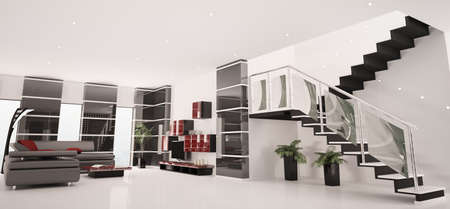 Modern apartment with staircase inter panorama 3d render Stock Photo - 8561855