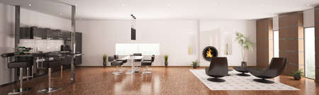 Inter of modern apartment living room kitchen panorama 3d render Stock Photo - 8561934
