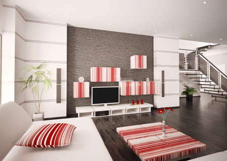 Modern living room with LCD interior 3d render Stock Photo