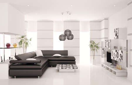 Modern living room with black sofa and LCD interior 3d render photo
