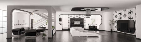 Modern Apartment inter living room hall kitchen panorama 3d render Stock Photo - 8561867