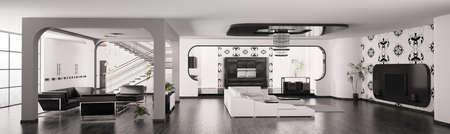 Modern Apartment interior living room hall kitchen panorama 3d render Stock Photo - 8561867