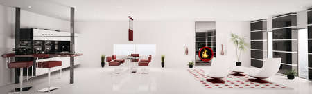 Interior of modern apartment living room kitchen panorama 3d render