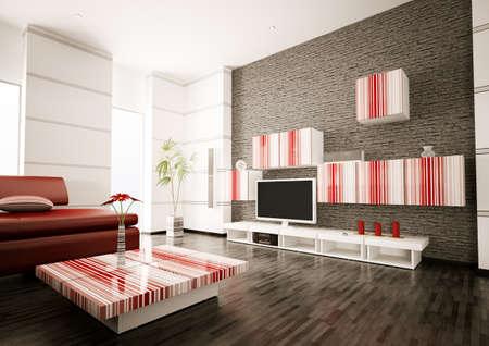 Salon moderne avec �cran LCD int�rieur 3d rendre Banque d'images