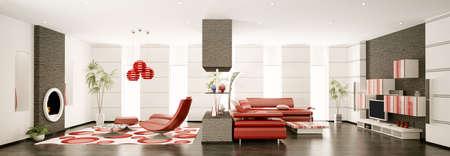 Inter of modern apartment panorama 3d render Stock Photo - 8628277