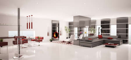 Interior of modern white living dining room panorama 3d render photo
