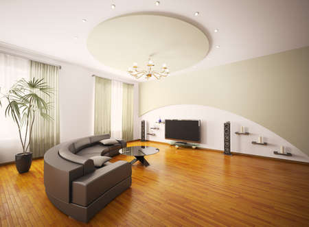 parquet floors: Salotto moderno con LCD interior 3d rendering Archivio Fotografico
