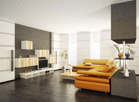 interior design living room: Modern living room with orange sofa and LCD interior 3d render